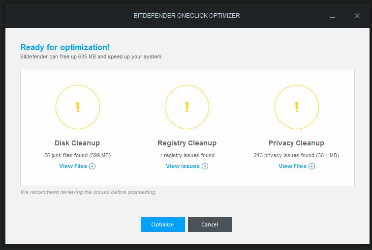 BitDefender optimization