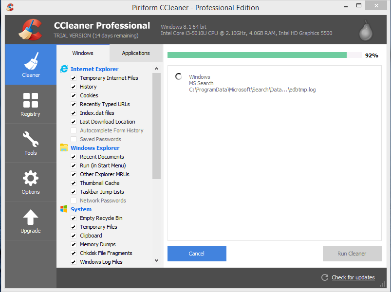 Advanced SystemCare Vs CCleaner: performance