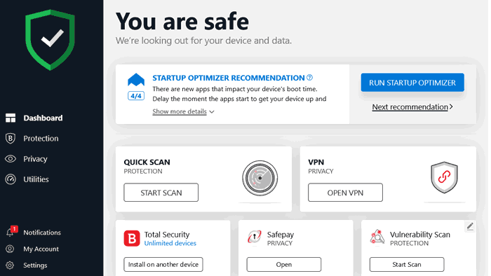 Bitdefender Total Security 2020 home screen