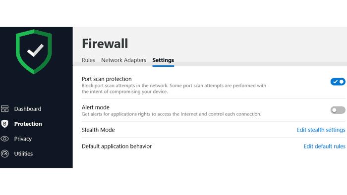 Bitdefender 2020 firewall settings