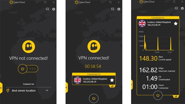 Cyberghost VPN Interface easy mode