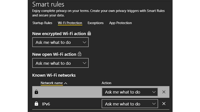 cyberghost wifi protection settings