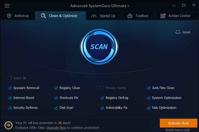 advanced systemcare account