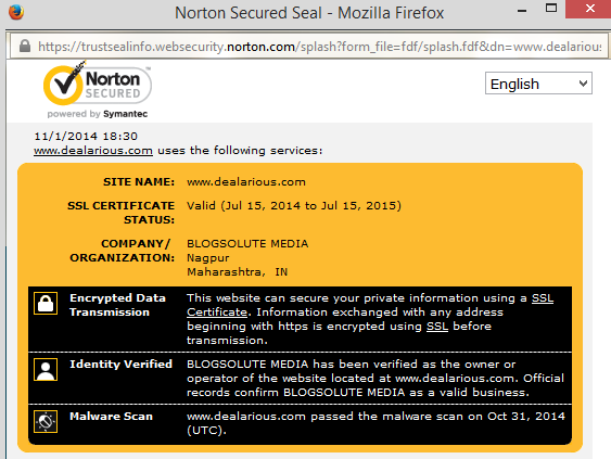 Norton Seured Certificate