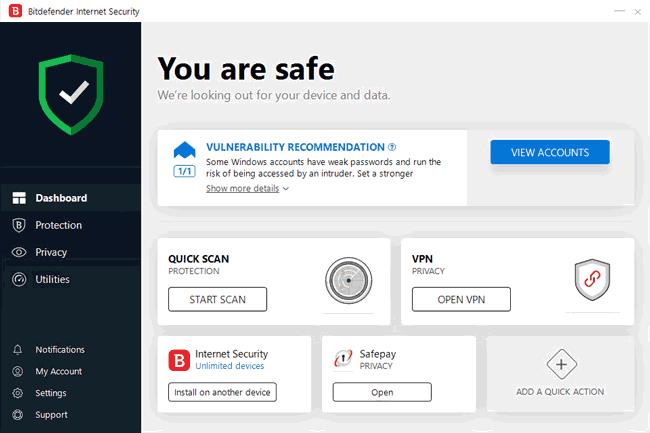 Bitdefender Internet Security home screen