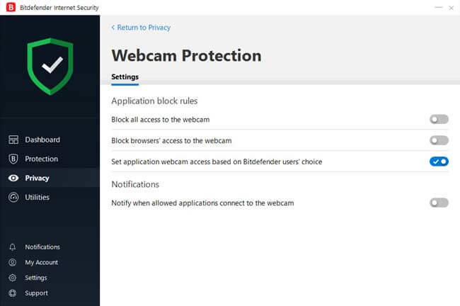 Bitdefender Internet Security Webcam protection