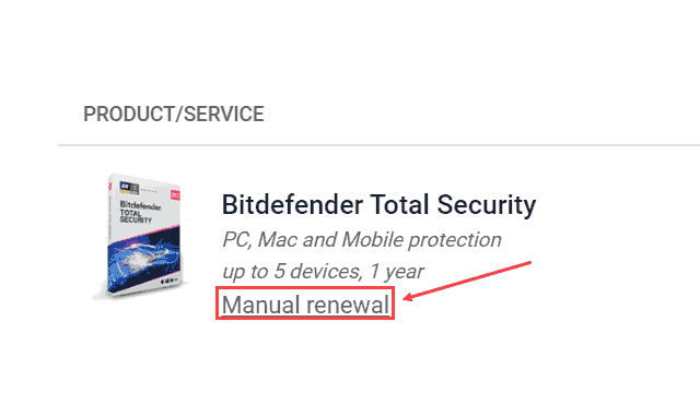 Bitdefender Manual Renewal
