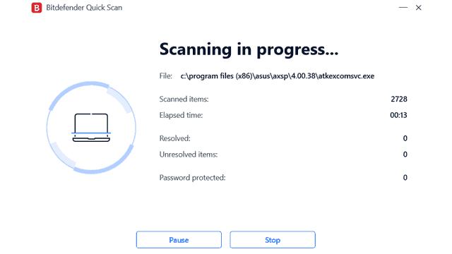 Bitdefender Total Security 2021 Quick Scan
