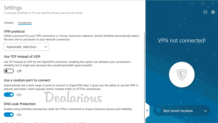 Zenmate VPN 5 Settings